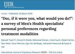 """""""Siz olsaydınız ne yapardınız?"""": Erkek Sağlığı Uzmanlarının Tedavi Alternatifleri Konusundaki Kişisel Tercihlerini Araştırdığımız Makalemiz Yayınlandı"""