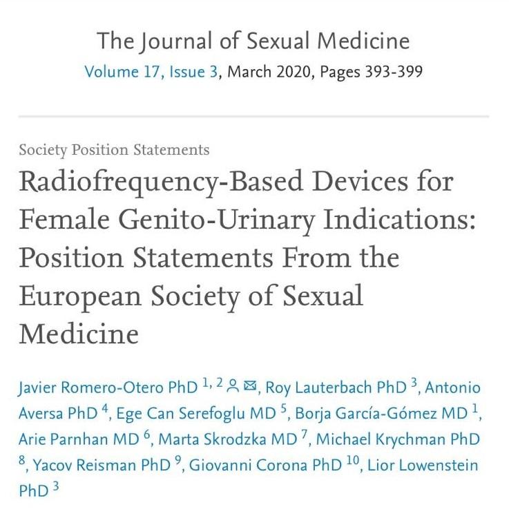 Kadın Genital Bölge Estetiğinde Kullanılan Radyofrekans Cihazlarına İlişkin Makalemiz Yayınlandı
