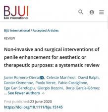 Penis Büyütme Ameliyatlarına İlişkin Makalemiz Yayınlandı
